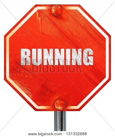 running, 3D rendering, a red stop sign