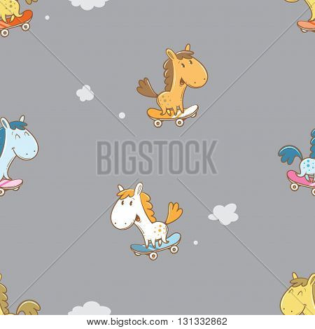 Seamless pattern with cute cartoon horses on skateboard on gray  background. Children's illustration. Funny animals. Vector image.