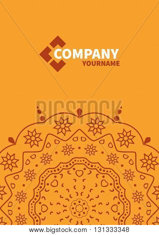 Cover template with floral background. Orange design background for business. annual report book cover, brochure, flyer, poster
