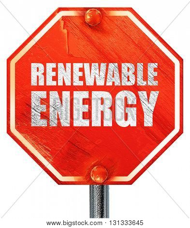 renewable energy, 3D rendering, a red stop sign