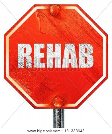 rehab, 3D rendering, a red stop sign