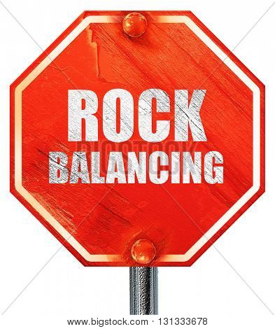 rock balancing, 3D rendering, a red stop sign