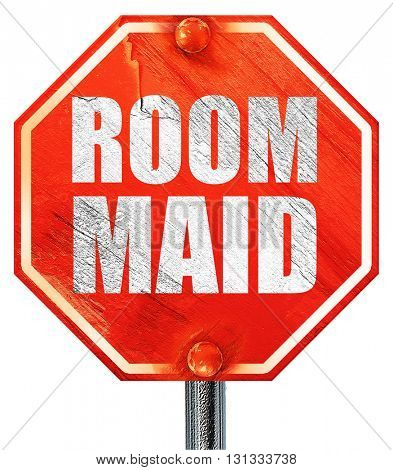 room maid, 3D rendering, a red stop sign