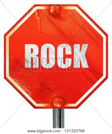 rock music, 3D rendering, a red stop sign