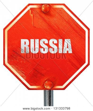 Greetings from russia, 3D rendering, a red stop sign