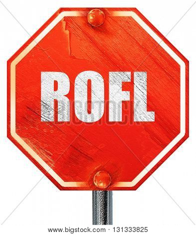 rofl internet slang, 3D rendering, a red stop sign