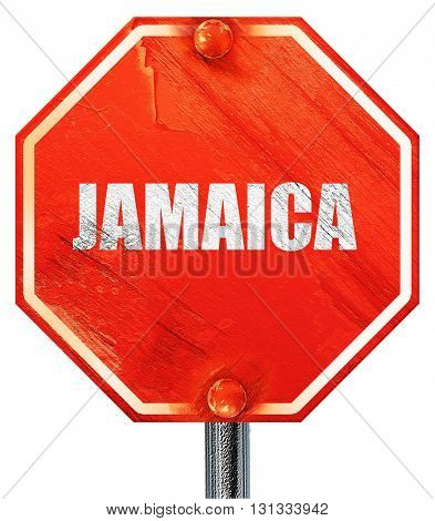 Greetings from jamaica, 3D rendering, a red stop sign