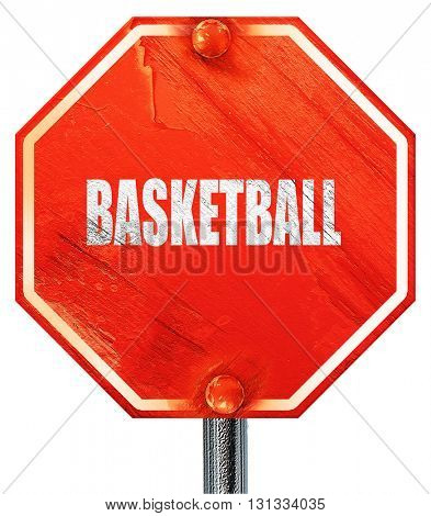 basketball sign background, 3D rendering, a red stop sign