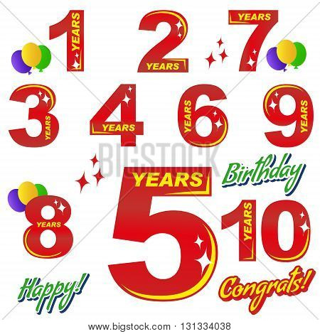 birthday - numbers and elements for greeting cards and banners. Lettering - congratulations, happy, birthday 1, 5, 10