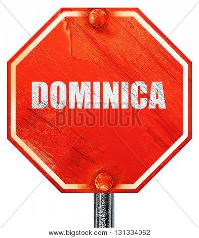 Greetings from dominica, 3D rendering, a red stop sign