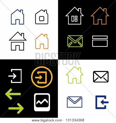 Outline web icons set - house letter sign arrow email. Vector Minimalism. Isolated on white and black background.