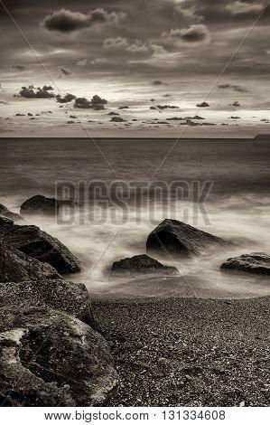 Seaside in a windy day near Cogoleto Liguria Italy