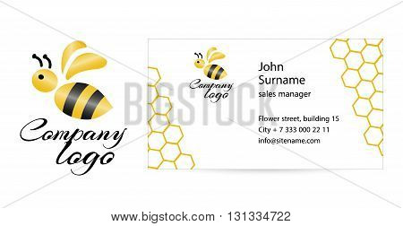 Merry bee Logo. Abstract creative business card template. Flat design.
