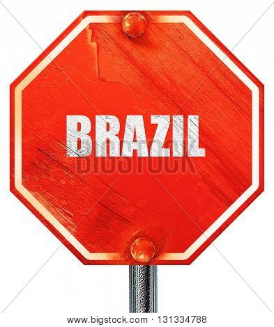 Greetings from brazil, 3D rendering, a red stop sign