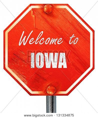Welcome to iowa, 3D rendering, a red stop sign