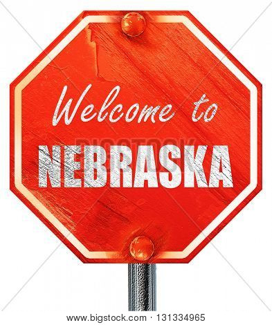 Welcome to nebraska, 3D rendering, a red stop sign