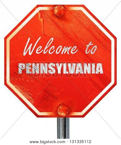 Welcome to pennsylvania, 3D rendering, a red stop sign