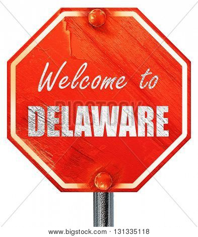 Welcome to delaware, 3D rendering, a red stop sign