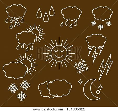 Set thin and clean outline weather icons for web or mobile use. white isolated on brown background.