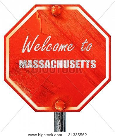Welcome to masschusetts, 3D rendering, a red stop sign