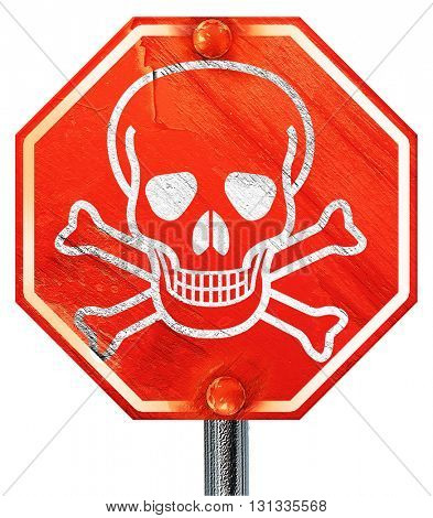 Poison sign background, 3D rendering, a red stop sign