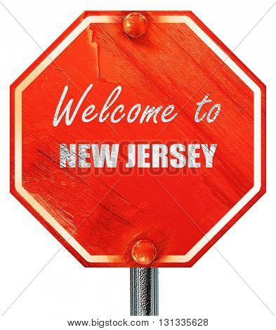 Welcome to new jersey, 3D rendering, a red stop sign