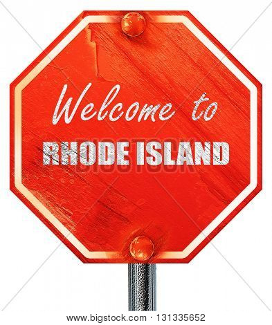 Welcome to rhode island, 3D rendering, a red stop sign