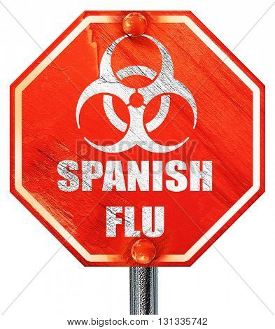 Spanish flu concept background, 3D rendering, a red stop sign