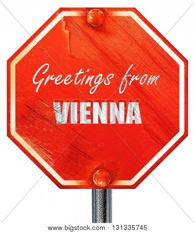 Greetings from vienna, 3D rendering, a red stop sign