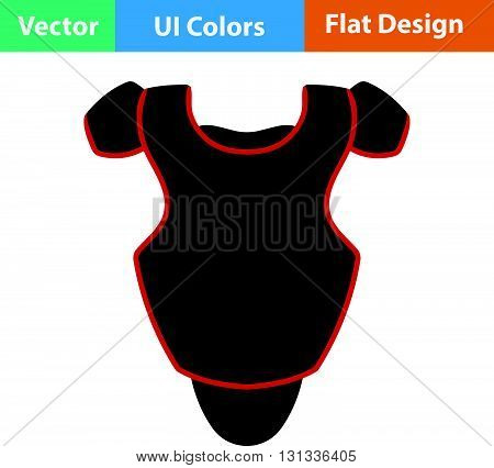 Baseball chest protector icon. Flat design ui colors.. Vector illustration.