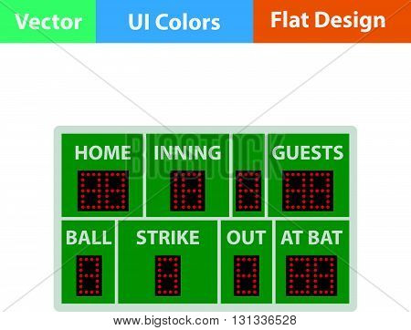 Baseball scoreboard icon. Flat design ui colors.. Vector illustration.