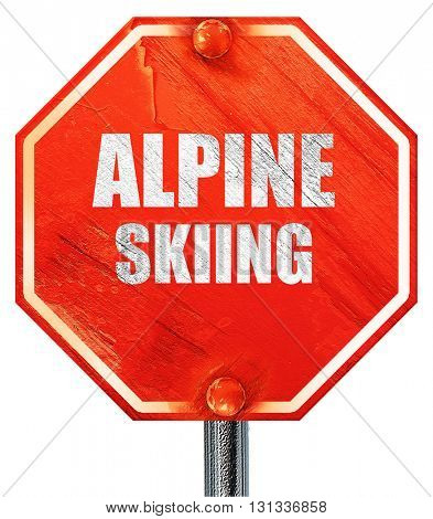 alpine skiing sign background, 3D rendering, a red stop sign