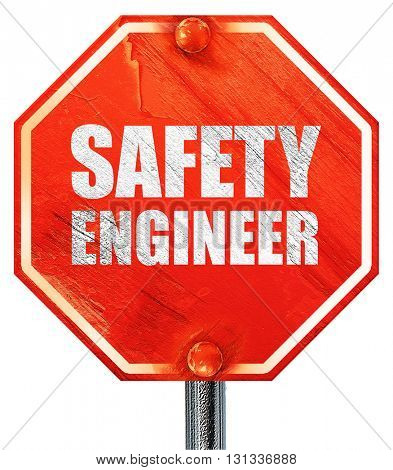 safety engineer, 3D rendering, a red stop sign