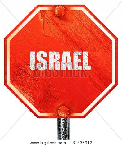 Greetings from israel, 3D rendering, a red stop sign