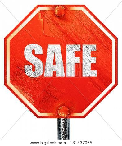 safe, 3D rendering, a red stop sign