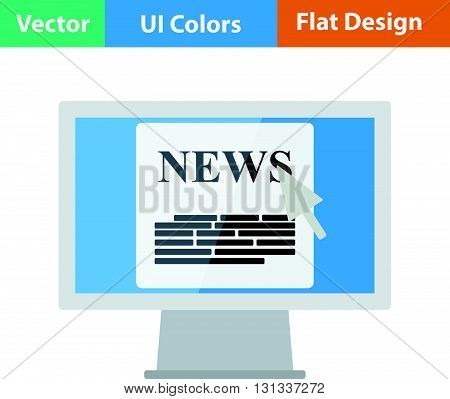 Monitor with news icon. Flat design ui colors.. Vector illustration.