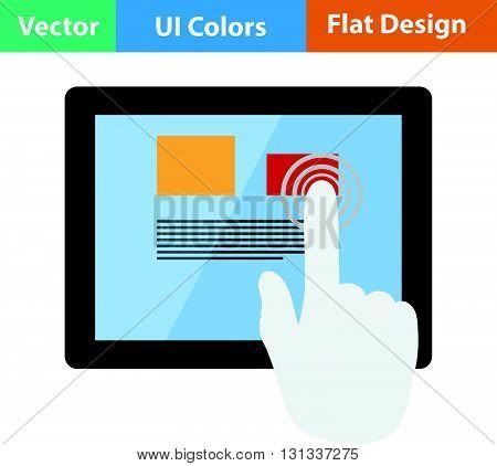 Tablet icon. Flat design ui colors.. Vector illustration.