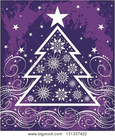 Christmas Tree Snowflakes purple and a star on top