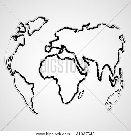Abstract world map contour of the brush, art illustration
