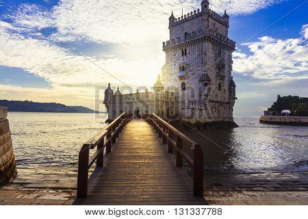 Torre de Belem - famous landmark of Lisbon , Portugal