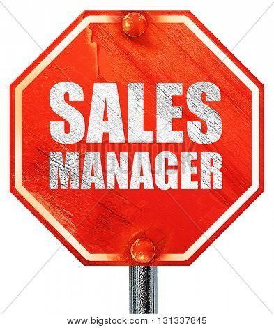 sales manager, 3D rendering, a red stop sign