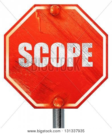 scope, 3D rendering, a red stop sign