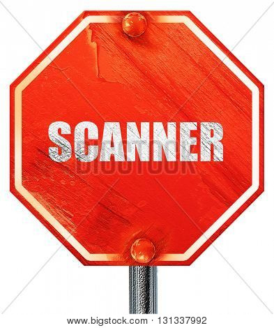 scanner, 3D rendering, a red stop sign
