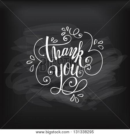 Thank you handwritten vector illustration, pen lettering isolated on chalkboard background