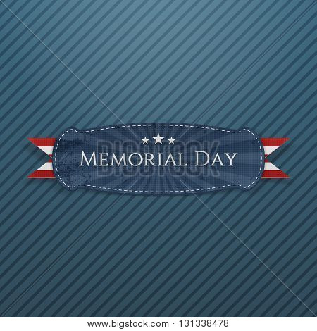 Memorial Day greeting Banner and Ribbon. National American Holiday Background Template. Vector Illustration.