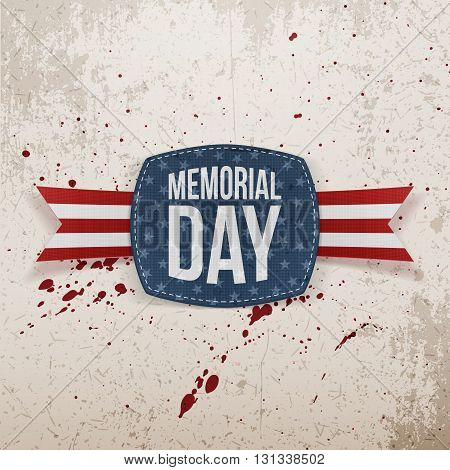 Memorial Day greeting Emblem and Ribbon. National American Holiday Background Template. Vector Illustration.