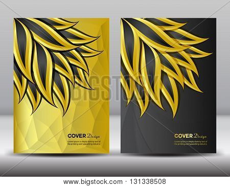 Set Gold and black Cover Annual report design vector illustration cover template brochure flyer template poster booklet leaflet