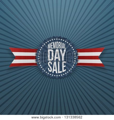 Memorial Day Sale greeting Badge and Ribbon. National American Holiday Background Template. Vector Illustration.