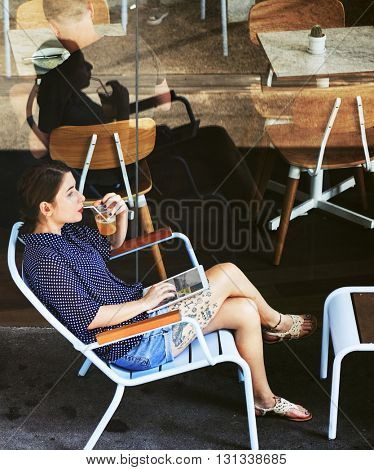Customer Coffee Shop Relaxation Service Concept