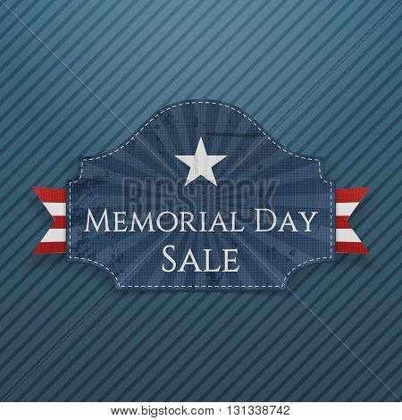 Memorial Day Sale greeting Poster and Ribbon. National American Holiday Background Template. Vector Illustration.